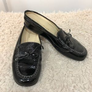 Cole Haan patent leather mule loafers